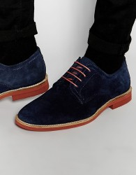 Red Tape Derby Shoes In Navy Suede - Blue