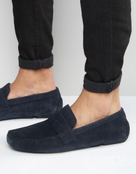 Red Tape Driving Shoes In Navy Suede - Blue