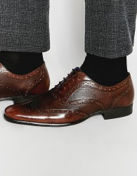 Red Tape Etched Brogues In Brown Leather - Brown