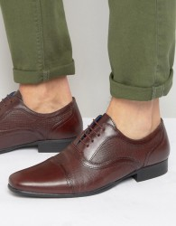 Red Tape Etched Lace Up Smart Shoes - Red