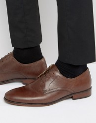 Red Tape Lace Up Smart Shoes In Brown Leather - Brown