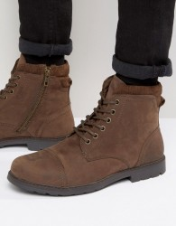 Red Tape Lace Up Worker Boots Brown - Brown