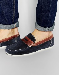 Red Tape Penny Loafers In Blue Suede - Blue