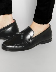 Red Tape Tassel Loafers In Black Leather - Black