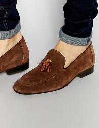 Red Tape Tassel Loafers In Brown Suede - Brown