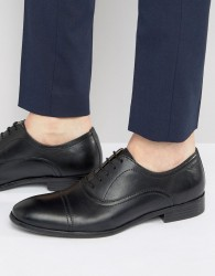 Red Tape Toe Cap Oxford Shoes In Black Leather - Black