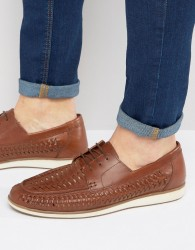 Red Tape Woven Lace Up Shoes - Tan