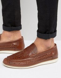 Red Tape Woven Penny Loafers - Tan