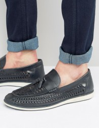 Red Tape Woven Tassel Loafers In Blue Leather - Blue