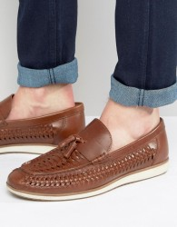 Red Tape Woven Tassel Loafers In Brown Leather - Brown