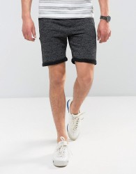 Redefined Rebel Jersey Short With Distressing And Raw Hems - Black
