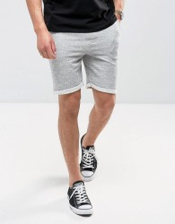 Redefined Rebel Jersey Short With Distressing And Raw Hems - Grey