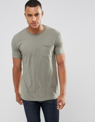 Redefined Rebel Longline Pocket T-Shirt With Stepped Hem - Green