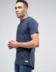 Redefined Rebel Longline T-Shirt With Curved Hem - Navy