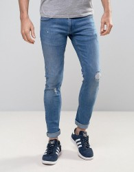 Redefined Rebel Slim Jeans With Distressing In Mid Wash Blue - Blue