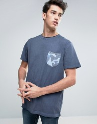 Redefined Rebel T-Shirt With Contrast Camo Pocket - Navy