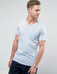 Redefined Rebel V-Neck Pocket T-Shirt In Marl - Blue