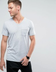 Redefined Rebel V-Neck Pocket T-Shirt In Marl - Green