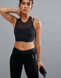 Reebok Hero Strong Mesh Insert Sports Bra In Black - Black