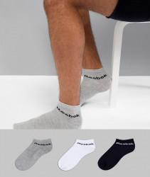 Reebok Training 3 Pack Ankle Socks In Multi AB5275 - Multi