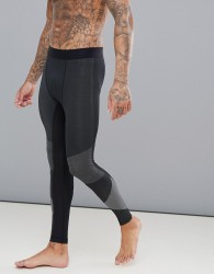 Reebok Training Jacquard Knitted Compression Tights In Black CY4893 - Black