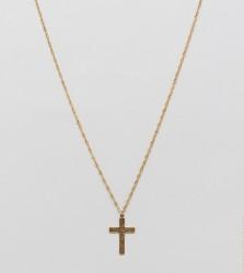 Regal Rose 18K Gold Plated Floral Cross Pendant Necklace - Gold