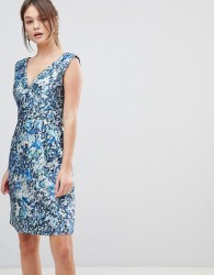 Reiss Allium Printed Floral Dress - Blue