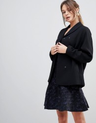 Reiss Ashby Draped Wool Blend Jacket - Black
