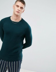 Reiss Cable Knit Crew - Green