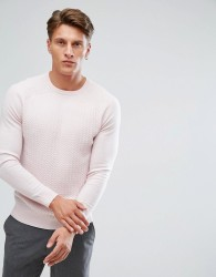 Reiss Cable Knit Crew - Pink