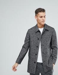 Reiss Dogtooth Wool Smart Coat - Grey