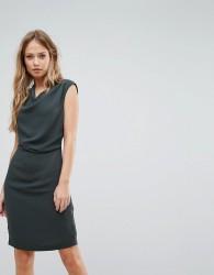 Reiss Drape Neck Fitted Dress - Green