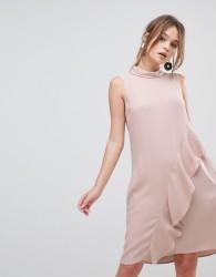 Reiss Eden Asymmetric Frill Front Dress - Pink