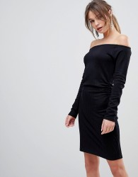 Reiss Edita Off Shoulder Bodycon Dress - Black