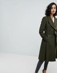 Reiss Fit & Flare Wool Coat - Green