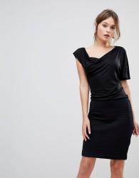 Reiss Freyda Jersey Mix One Sleeve Dress - Black