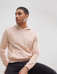 Reiss Garment Dye Hoodie In Light Pink - Pink