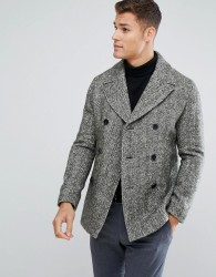 Reiss Herringbone Peacoat - Grey