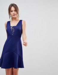 Reiss Hudson Lace Insert Dress - Navy