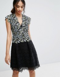 Reiss Idie Lace Contrast Embroidered Dress - Multi