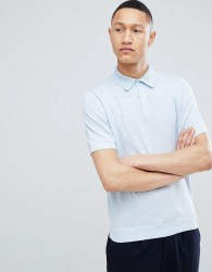 Reiss Knitted Polo In Blue - Blue