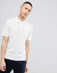 Reiss Knitted Polo In Pink - Pink