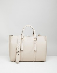 Reiss Leather Tote With Chain Detail - Brown