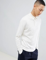 Reiss Long Sleeve Knitted Polo - Cream