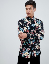 Reiss long sleeve shirt in black floral print - Black