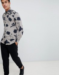 Reiss long sleeve shirt in blue floral print - Blue