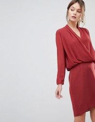 Reiss Long Sleeved Wrap Dress - Red