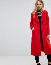 Reiss Longline Coat With Side Split Details - Red