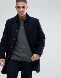 Reiss Overcoat In Wool - Navy