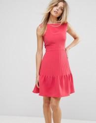 Reiss Pintuck Peplum Frill Dress - Orange